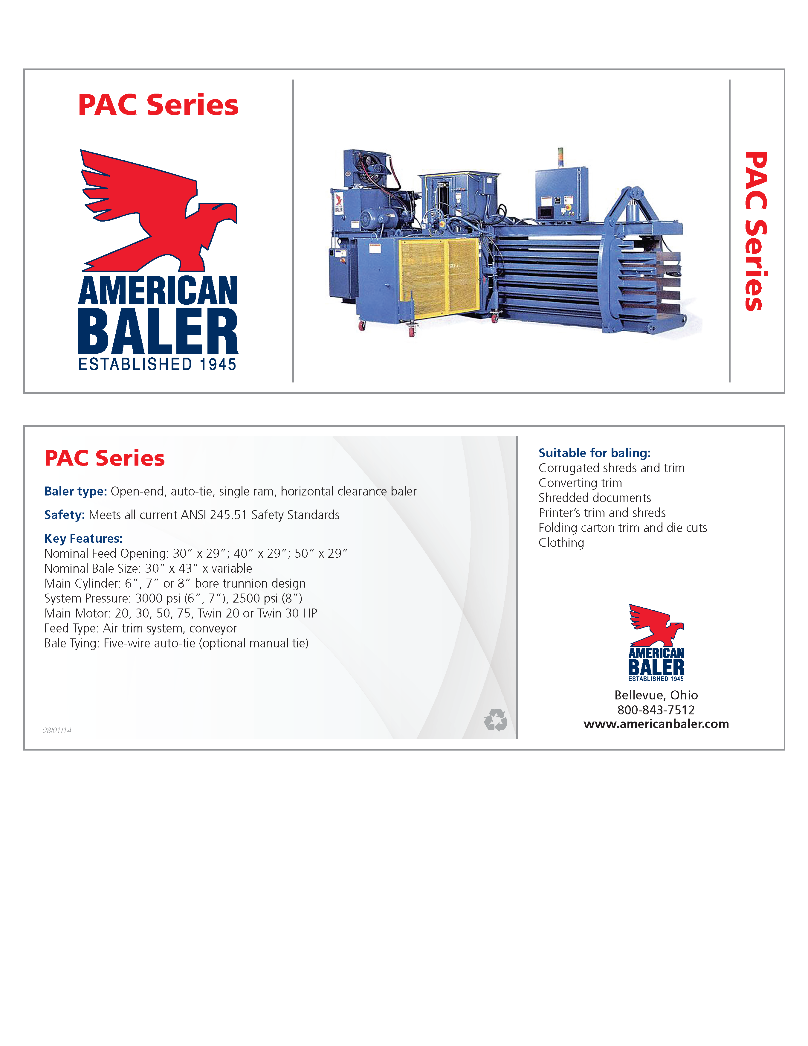 Learn more about the PAC Series Baler in the American Baler Brochure.