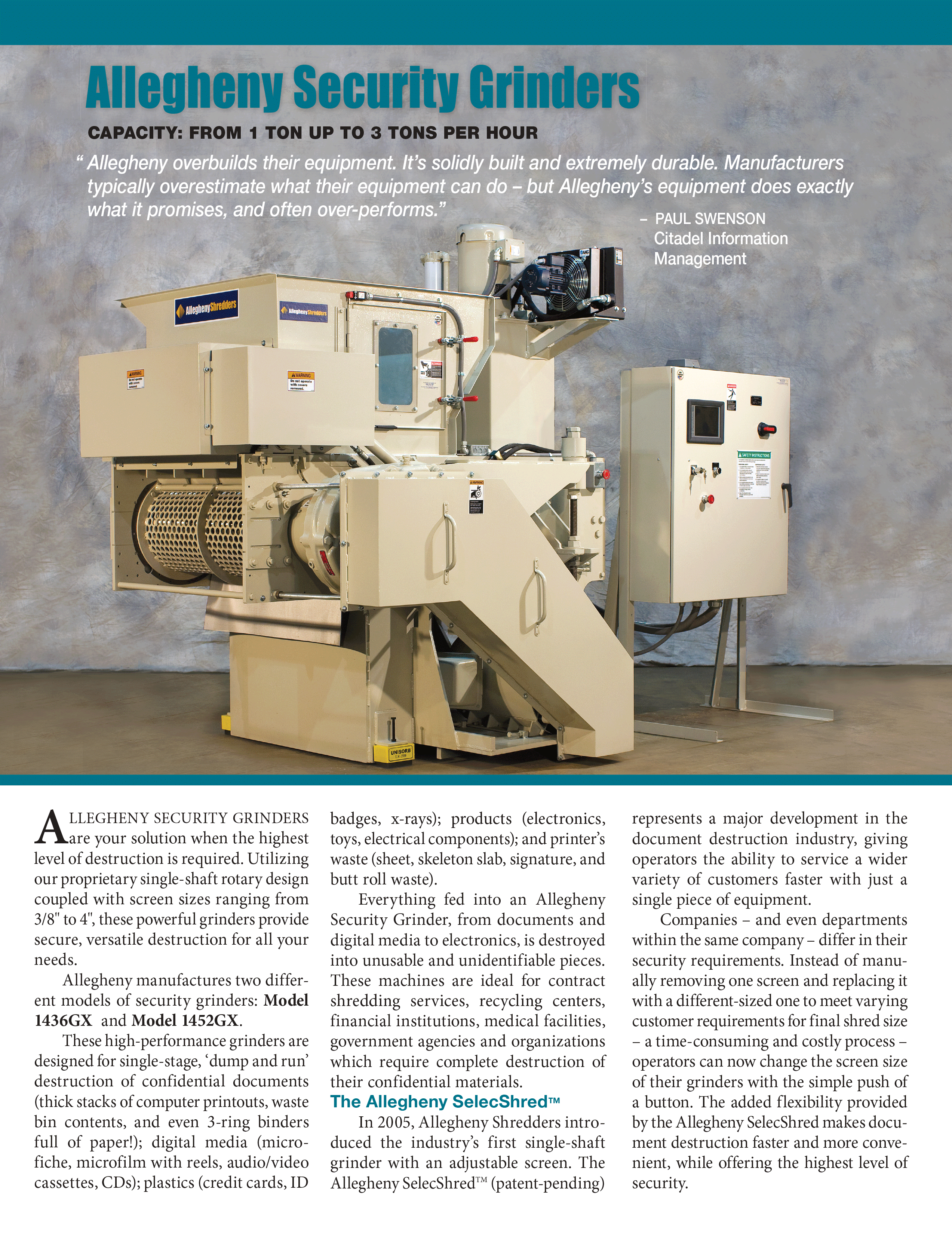 Learn more about Security Grinders in the Allegheny Brochure