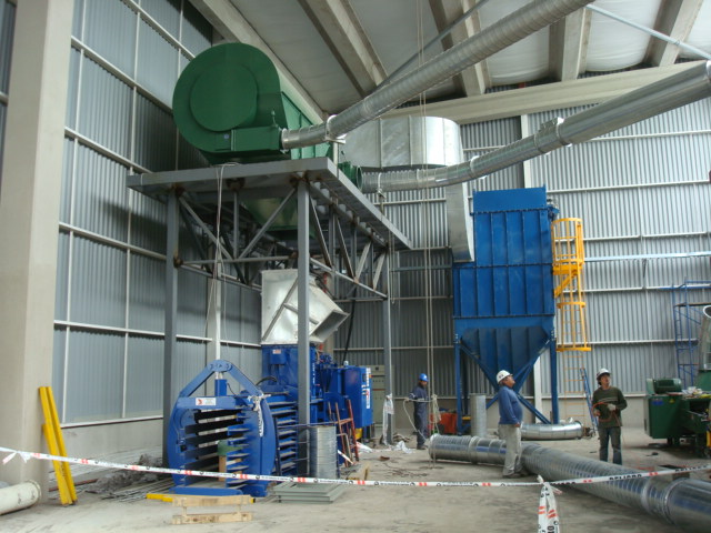 Baler, Dust Filtration System, Fans, Separator and Ductwork (piping) During Installation in South America